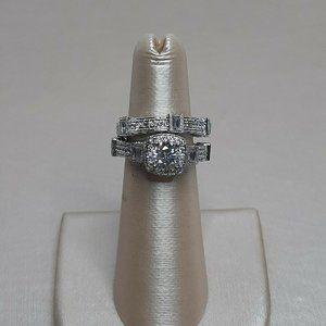 Women's Engagement and Wedding Band Set, CZ White